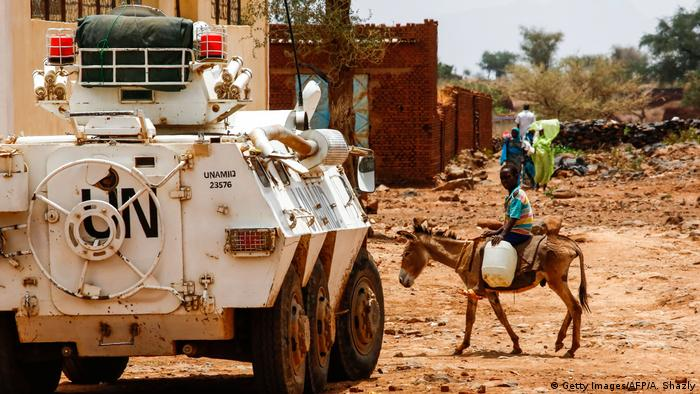 An armored vehicle of the UN-Africa Union mission in Darfur