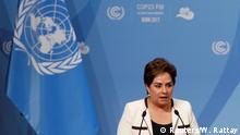 06.11.2017****Patricia Espinosa, Executive Secretary of the United Nations Framework Convention on Climate Change, addresses welcome speech during the opening session of the COP23 UN Climate Change Conference 2017, hosted by Fiji but held in Bonn, in World Conference Center Bonn, Germany, November 6, 2017. REUTERS/Wolfgang Rattay