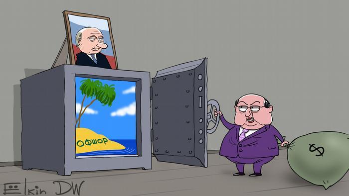 Карикатура Сергея Ёлкина на тему Райских досье