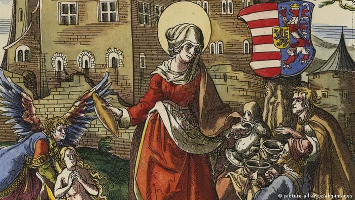 Святая Елизавета раздает милостыню бедным. Фрагмент гравюры Ханса Бургкмайра (1473-1531)