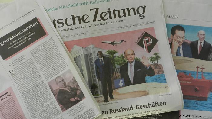 Süddeutsche Zeitung vom 6.11.2017 mit den Enthüllungen Paradise Paper (DW/N. Jolkver )
