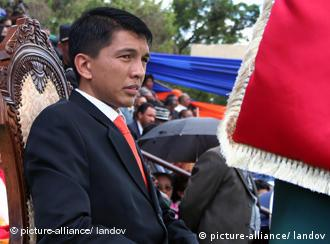 Image #: 7406492 (080321) -- ANTANANARIVO, March 21, 2009 (Xinhua) -- Andry Rajoelina, former opposition leader, is sworn in as the president of the High Transitional Authority of Madagascar during an official ceremony held at a stadium in central Antananarivo, capital of Madagascar, March 21, 2009. Andry Rajoelina called for national reconciliation in a speech he made during his inaugural ceremony. Xinhua /Landov