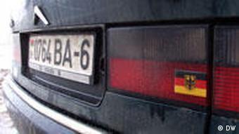 Auto mit Deutschlandaufkleber in Bryli, Belarus