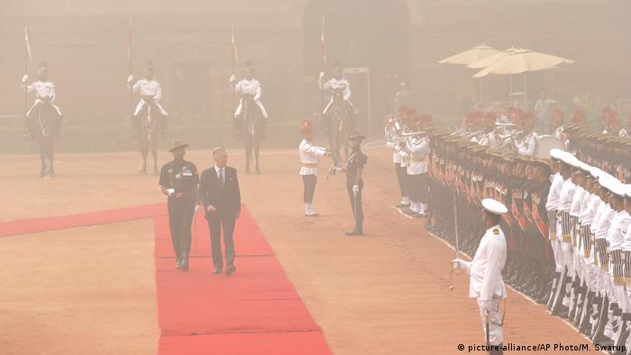 Belgium's King Philippe inspects guard of honor in New Dehli