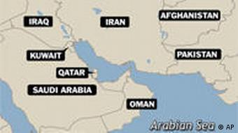 Karte Iran und Goflstaaten