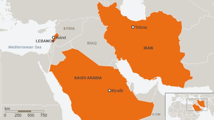 A map shows Lebanon, Saudi Arabia and Iran