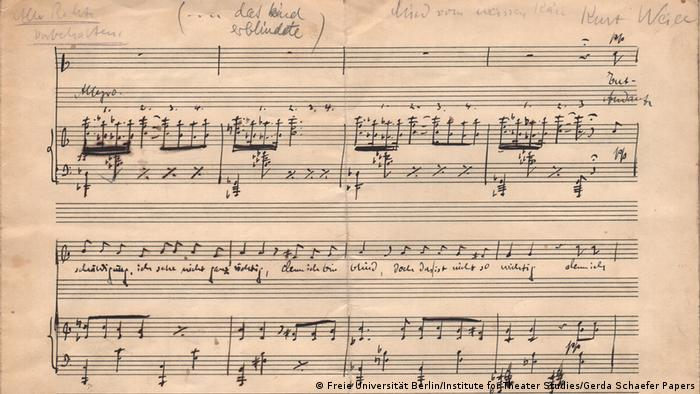 The first page of the manuscript by Kurt Weill Song of the white cheese DETAIL