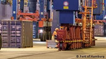 City of Hamburg's container terminal by night