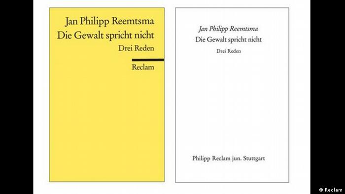 Covers of a book of three speeches by German political activist Jan Philipp Reemtsma. (Reclam)