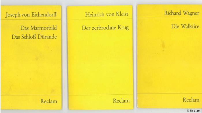 Reclam yellow books face up and side by side (Reclam)