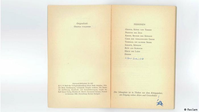 An open Reclam book (Reclam)
