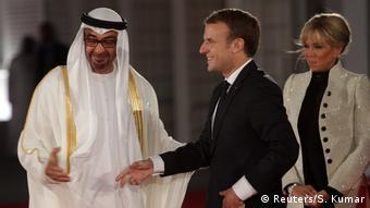 Mohammed bin Zayed al-Nahyan, French President Emmanuel Macron and his wife (Reuters/S. Kumar)
