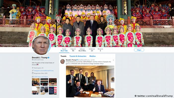 Screenshot of Donald Trump's Twitter account