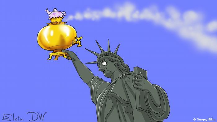 Статуя Свободы с русским самоваром