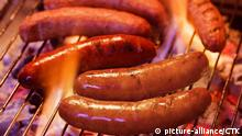 Grilling bratwursts on a charcoal grill   Keine Weitergabe an Wiederverkäufer.