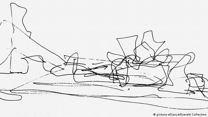 Sketch by Frank Gehry for das Guggenheim Museum in Bilbao (2005) (picture-alliance/Everett Collection)
