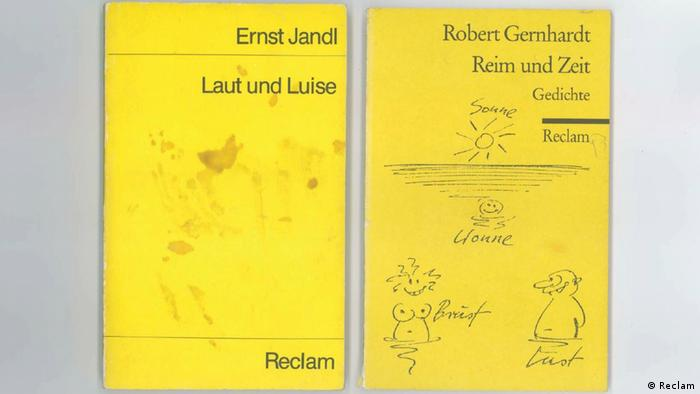 Two reclam books, one with a stained cover and one with doodles on it (Reclam)