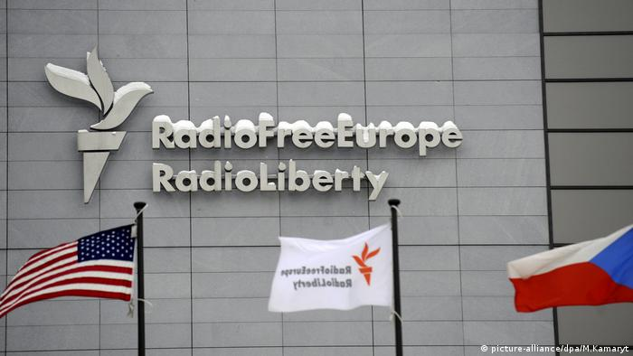 Radio Free Europe logo at the broadcaster's Prague headquarters