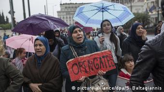 Flüchtlingsprotest vor deutscher Botschaft in Athen