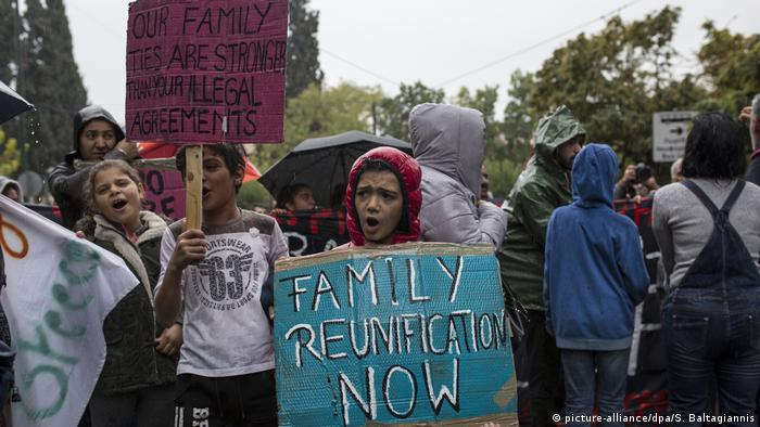 Refugees at a protest in Athens