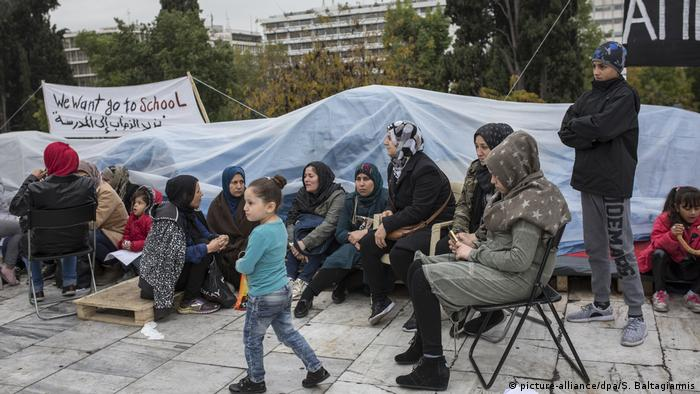 Flüchtlingsprotest in Athen (picture-alliance/dpa/S. Baltagiannis)