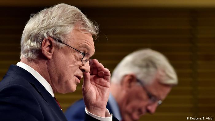 EU and British negotiators Michel Barnier and David Davis address journalists at a news conference in Brussels after the latest round of negotiations.