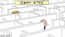 Karikatur von Sergey Elkin. Das ist eine Karikatur von Sergey Elkin. Sie darf auf DW-Seiten veröffentlicht werden. Copyright: Sergey Elkin. Thema: Verwirrungen über das Treffen zwischen Trump und Putin bei dem APEC-Gipfel. Stichworte: Sergey Elkin, Karikatur, APEC-Gipfel, Putin, Trump Bildbeschreibung: Karikatur - Überschrift APEC-Gipfel über ein Labyrinth, in dem sich Donald Trump und Wladimir Putin verliefen.