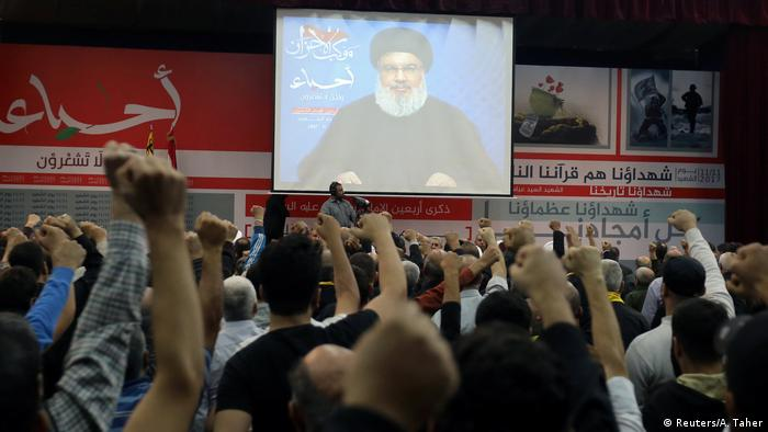 Libanon Beirut - Hisbollahchef Hassan Nasrallah hält TV Rede (Reuters/A. Taher)