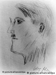 A self-portrait done by Adolf Hitler in charcoal