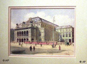 A watercolor of a building done by Adolf Hitler