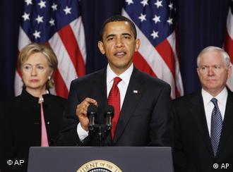 Барак Обама выступает с речью 27 марта 2009 года
