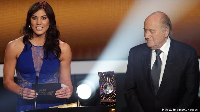 Hope Solo and Sepp Blatter at the FIFA Ballon d'Or Gala 2012