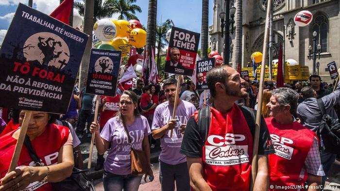Brasilien Sao Paolo Proteste gegen Präsident Temer und Sozialreform