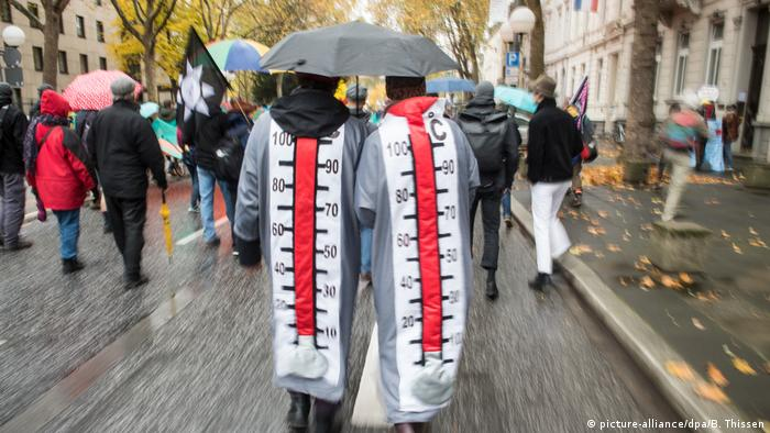 Two protesters dressed up as thermometers