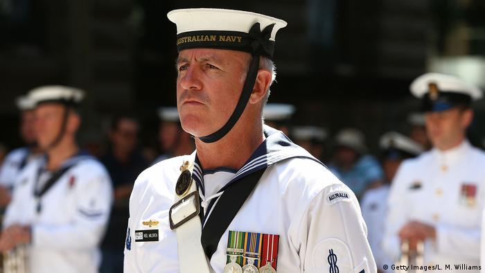 The Royal Australian Navy Band performs during Remembrance Day service at the Cenotaph in Sydney