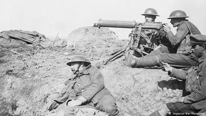 British soldiers with a machine gun in the trenches during WWI