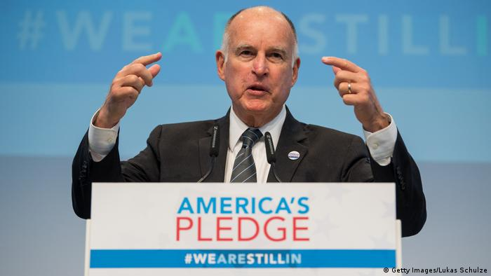 California Governor Jerry Brown at the America's Pledge launch event at COP23 climate summit in Bonn