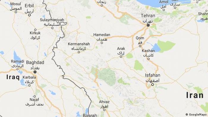 Karte | Grenzgebiet Iran Irak entlang der Provinz Kermanschah - Detail -ENG (GoogleMaps)