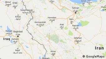 Karte | Grenzgebiet Iran Iraq entlang der Provinz Kermanschah - Detail -ENG (GoogleMaps)