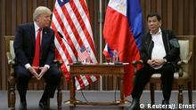 13.11.2017+++ U.S. President Donald Trump holds a bilateral meeting with President of the Philippines Rodrigo Duterte alongside the ASEAN Summit in Manila, Philippines November 13, 2017. REUTERS/Jonathan Ernst