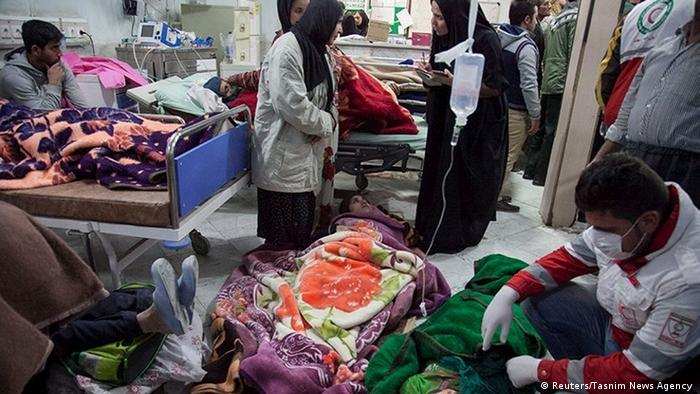 The hospital in Sarpol-e Zahab where patients are being treated on the floor and in beds. (Reuters/Tasnim News Agency )