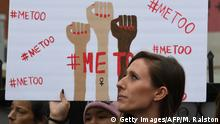 12.11.2017+++ Victims of sexual harassment, sexual assault, sexual abuse and their supporters protest during a #MeToo march in Hollywood, California on November 12, 2017. Several hundred women gathered in front of the Dolby Theatre in Hollywood before marching to the CNN building to hold a rally. / AFP PHOTO / Mark RALSTON (Photo credit should read MARK RALSTON/AFP/Getty Images)
