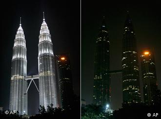 The combo pictures show Malaysia's landmark Petronas Twin Towers being turned off the lights to mark Earth Hour in downtown Kuala Lumpur, Malaysia, Saturday, March 28, 2009.