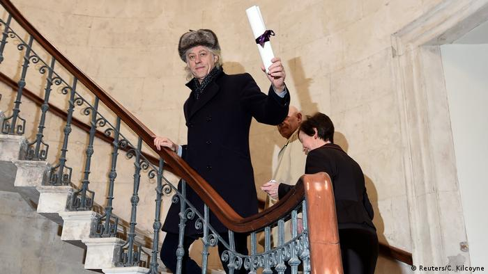Bob Geldof arrives to return his Freedom of the City of Dublin