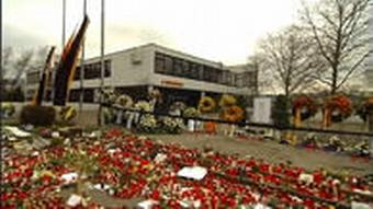 A sea of flowers and wreaths commemorating the victims of the 2008 shooting in Winnenden