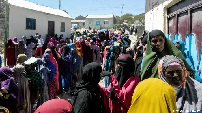 Women in Hargeisa queue at a polling station