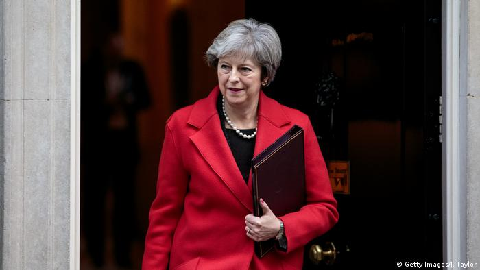 British Prime Minister Theresa May leaving Number 10 Downing Street ahead of a meeting with European business leaders over UK-EU trade arrangements post-Brexit