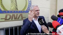 13.11.2017 Social Democrat Party leader Liviu Dragnea gestures after leaving the Romanian anti-corruption prosecutors headquarters in Bucharest, Romania, November 13, 2017. Inquam Photos/Octav Ganea/via REUTERS ATTENTION EDITORS - THIS IMAGE WAS PROVIDED BY A THIRD PARTY. ROMANIA OUT.