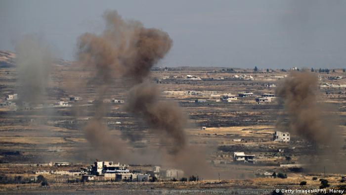 Smoke rising over Golan Heights