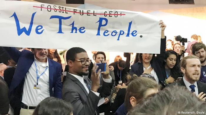 Protest at COP23 conference, held in Bonn, Germany
